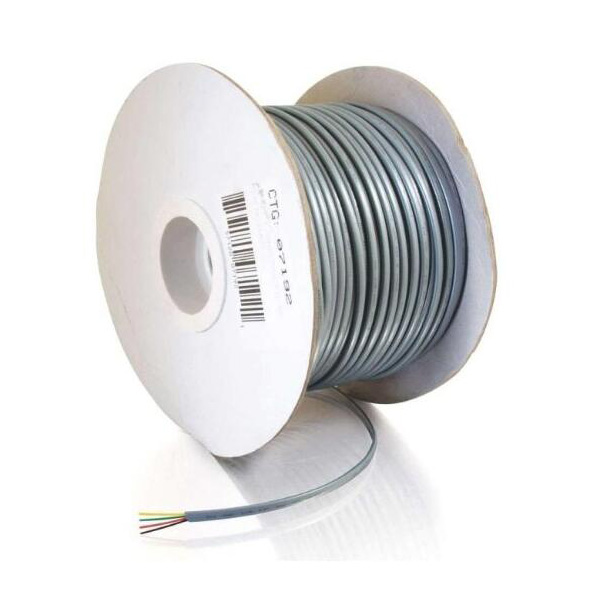28AWG 4-Conductor Silver Satin Modular Flat Telephone Cable Reel (500 Feet)